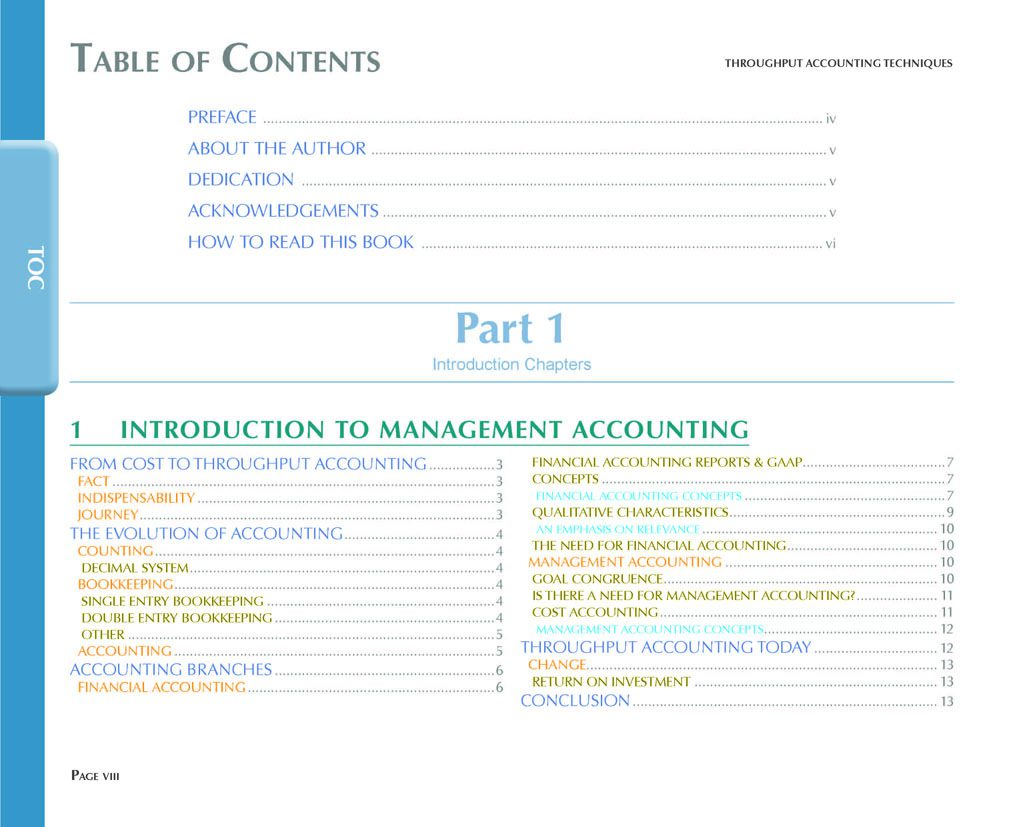 Throughput Accounting Techniques Design and Navigation Table Of Contents