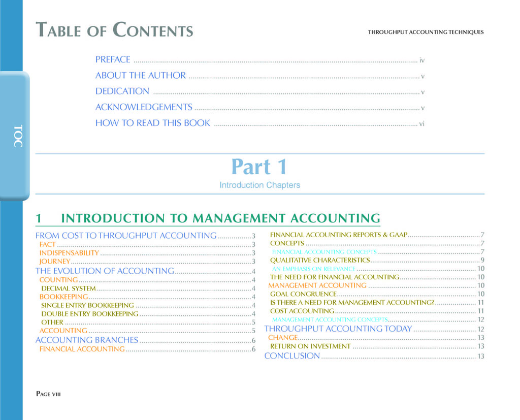 Throughput Accounting Techniques Table Of Contents 1