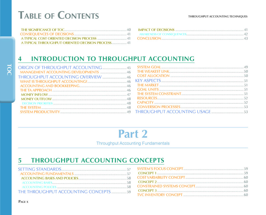 Throughput Accounting Techniques Table Of Contents 3