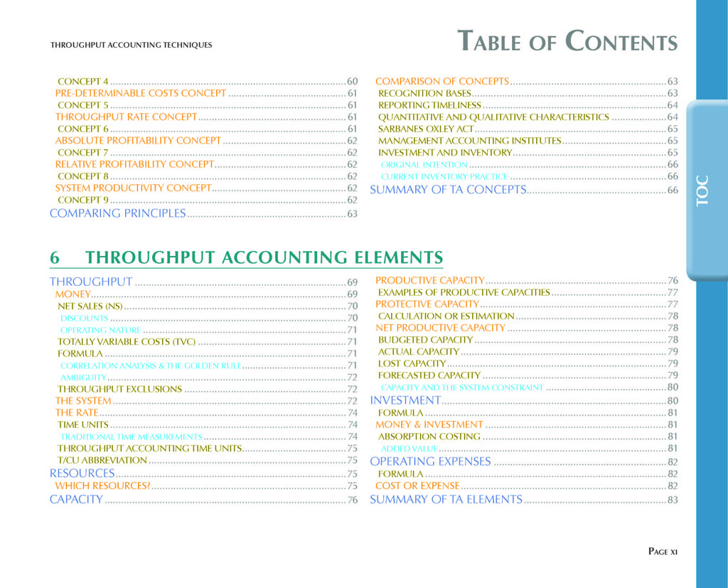 Throughput Accounting Techniques Table Of Contents 4