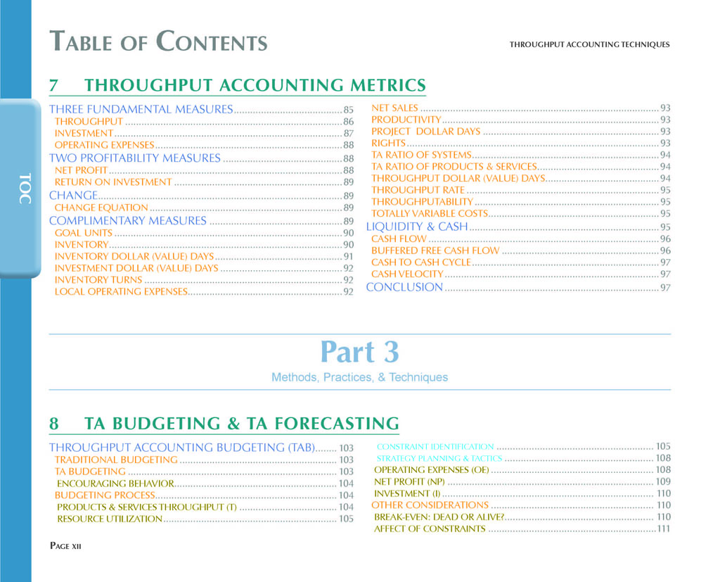 Throughput Accounting Techniques Table Of Contents 5