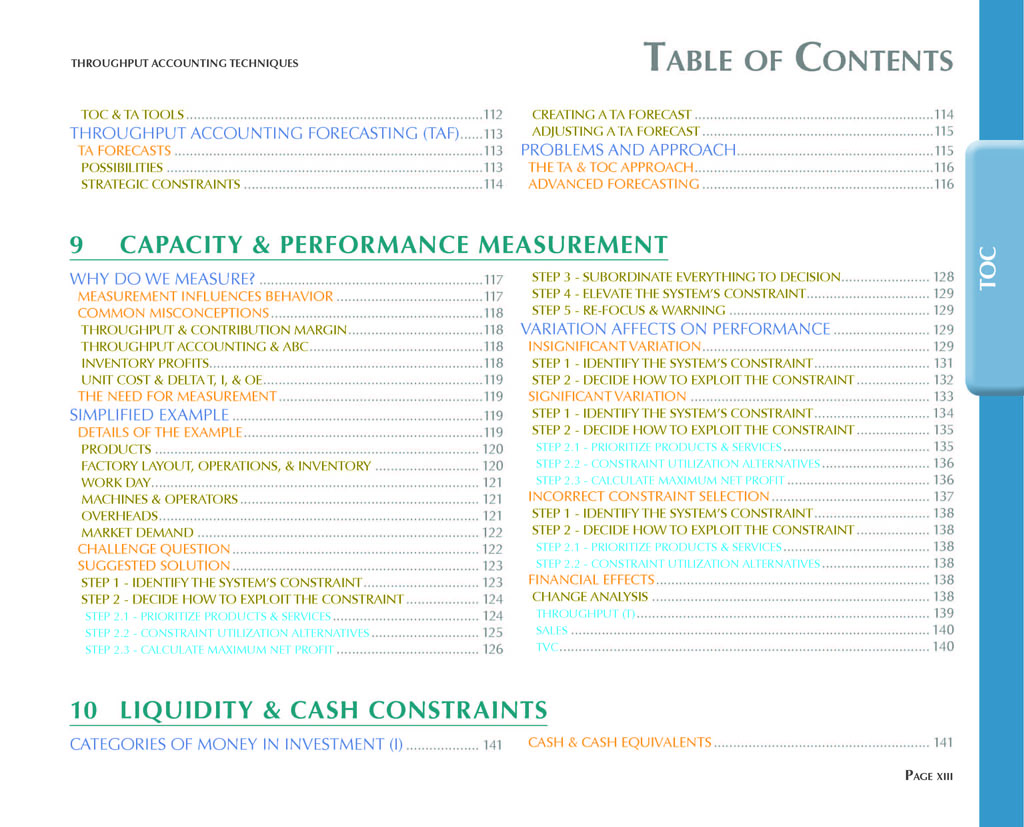 Throughput Accounting Techniques Table Of Contents 6