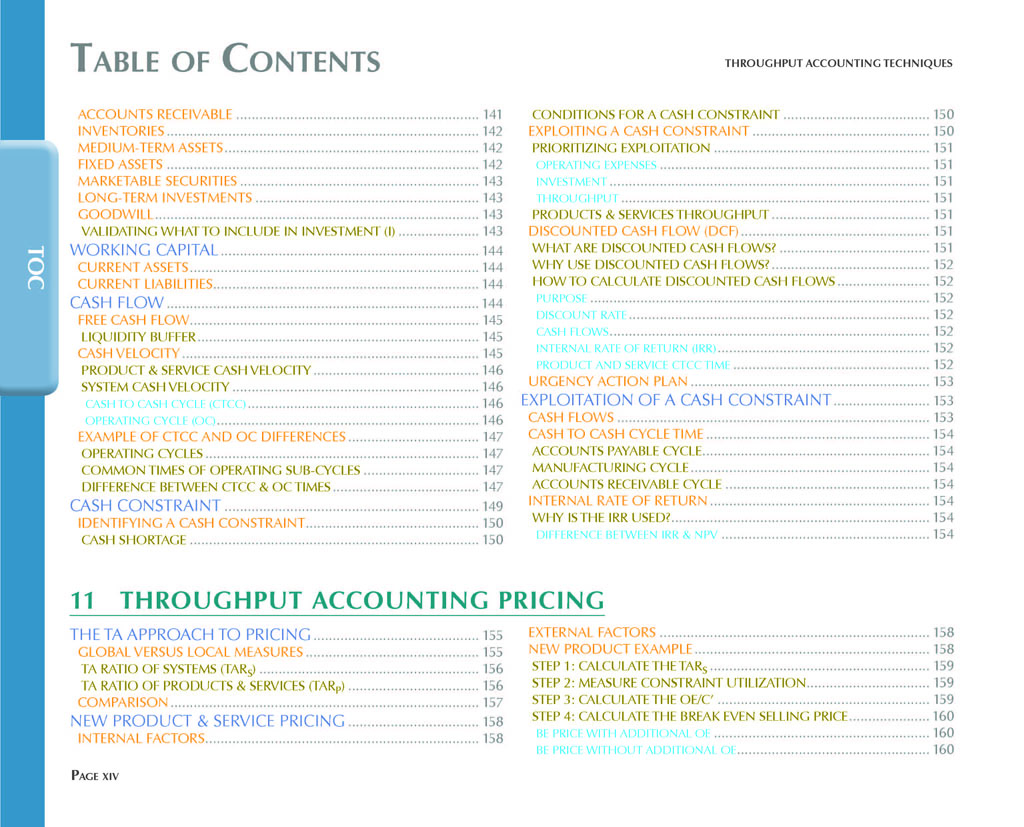 Throughput Accounting Techniques Table Of Contents 7