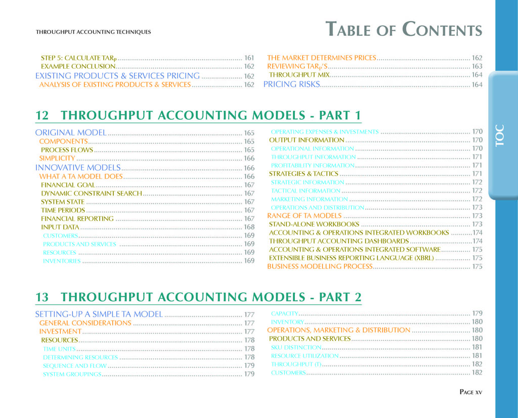 Throughput Accounting Techniques Table Of Contents 8