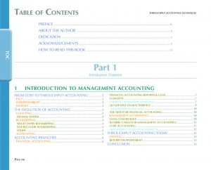 Image of Table Of Contents of Throughput Accounting Techniques
